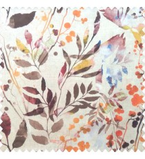 Orange brown green cream purple yellow color natural flower leaf design geometric circles cotton buds fruits long leaf patterns pure cotton curtain fabric