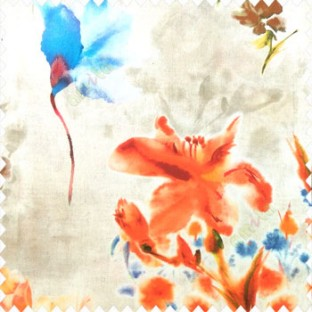 Elegant look orange blue green brown yellow color natural lily flower floral designs small flower and buds watercolor print pure cotton curtain fabric