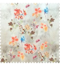 Elegant look orange brown green blue yellow color natural small lily flower floral designs small flower and buds watercolor print pure cotton curtain fabric