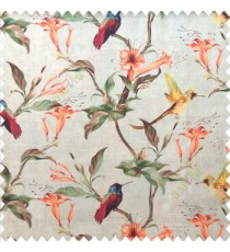 Orange yellow green brown pink cream color beautiful natural flower tree elegant look flying birds glowing flower and flower buds watercolor print pure cotton main curtain