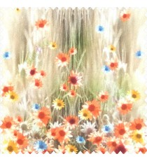 Orange brown blue green yellow color combination small water lily flower pattern vertical grass blurry background watercolor print flower buds pure cotton main curtain
