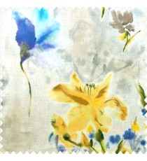 Elegant look yellow blue green brown grey color natural lily flower floral designs small flower and buds watercolor print pure cotton curtain fabric