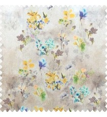 Elegant look yellow brown blue green color natural small lily flower floral designs small flower and buds watercolor print pure cotton curtain fabric