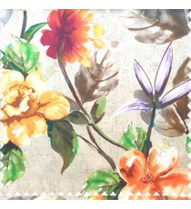 Beautiful natural purple yellow orange green white brown color philodendron leaf big leaf flower bird of paradise flower pattern watercolor print pure cotton main curtain
