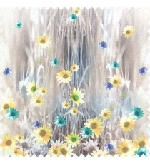 Yellow purple green brown cream color combination small water lily flower pattern vertical grass blurry background watercolor print flower buds pure cotton main curtain