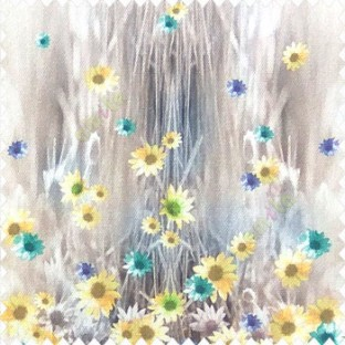 Yellow purple green brown cream color combination small water lily flower pattern vertical grass blury background watercolor print flower buds pure cotton main curtain