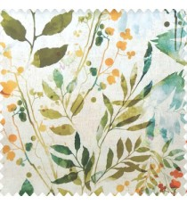 Orange green blue cream yellow color natural flower leaf design geometric circles cotton buds fruits long leaf patterns pure cotton curtain fabric