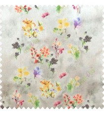 Elegant look yellow purple pink brown orange color natural small lily flower floral designs small flower and buds watercolor print pure cotton curtain fabric