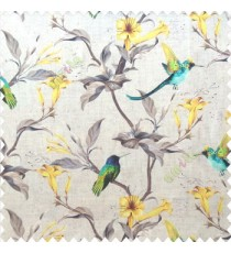 Yellow green purple brown cream color beautiful natural flower tree elegant look flying birds glowing flower and flower buds watercolor print pure cotton main curtain