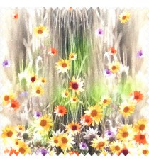 Yellow orange purple green brown color combination small water lily flower pattern vertical grass blurry background watercolor print flower buds pure cotton main curtain