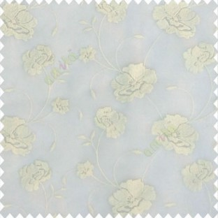 Pure white and cream color beautiful flower design embossed embroidery thread work beautiful look tendril leaf flower buds soft touch poly fabric sheer curtain