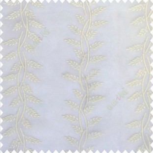 Pure white color vertical floral leaf pattern flower buds embroidery embossed thread work soft finished floral twig designs poly fabric sheer curtain