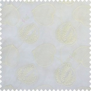 Pure white color elegant look big leaf designs redbud cercis canadensis leaf heart shaped embroidery soft thread work poly fabric sheer curtain