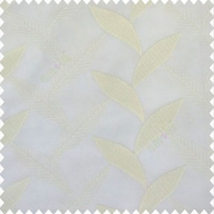Pure white color strobilanthes leaf texture finished leaf pattern long leaf embroidery soft thread work poly fabric sheer curtain