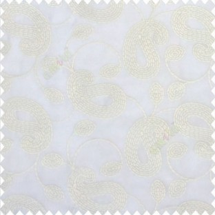 Pure white color traditional paisley flower buds inter connected layer of designs beautiful finished embroidery soft thread work poly fabric sheer curtain