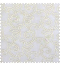 Pure white color traditional bold swirls floral pattern continues repeat design embroidery soft thread work poly fabric sheer curtain