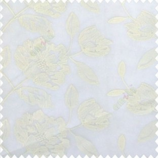 Pure white color beautiful flower big rose design leaf flower buds zigzag weaving patterns embroidery soft thread work poly fabric sheer curtain