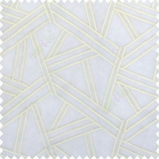 Pure white color abstract designs slant lines triangle geometric sticks zigzag embroidery soft thread work poly fabric sheer curtain