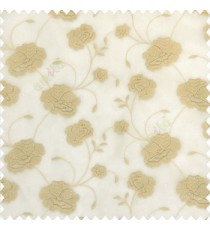 Beige gold color beautiful flower design embossed embroidery thread work beautiful look tendril leaf flower buds soft touch poly fabric sheer curtain