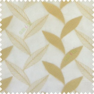 Beige gold color strobilanthes leaf texture finished leaf pattern long leaf embroidery soft thread work poly fabric sheer curtain