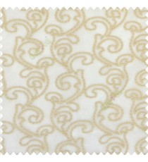 Beige gold color traditional bold swirls floral pattern continues repeat design embroidery soft thread work poly fabric sheer curtain