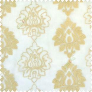Beige gold color traditional damask vertical designs floral and sharp edge designs embroidery soft thread work poly fabric sheer curtain