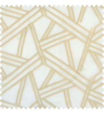 Beige gold color abstract designs slant lines traingle geometric sticks zigzag embroidery soft thread work poly fabric sheer curtain