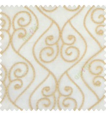 Beige gold color traditional ogee designs digital lines single lines swirls embroidery soft thread work poly fabric sheer curtain
