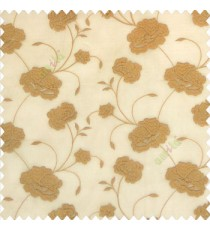 Brown gold color beautiful flower design embossed embroidery thread work beautiful look tendril leaf flower buds soft touch poly fabric sheer curtain