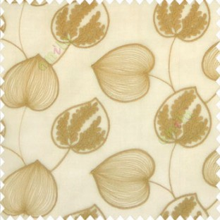 Brown gold color elegant look big leaf designs redbud cercis canadensis leaf heart shaped embroidery soft thread work poly fabric sheer curtain