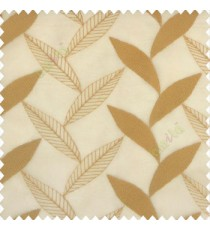 Brown gold color strobilanthes leaf texture finished leaf pattern long leaf embroidery soft thread work poly fabric sheer curtain