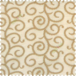 Brown gold color traditional designs zigzag weaving patterns swirls tendril flower buds floral branches embroidery soft thread work poly fabric sheer curtain