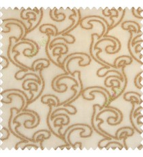 Brown gold color traditional bold swirls floral pattern continues repeat design embroidery soft thread work poly fabric sheer curtain