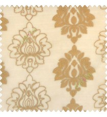 Brown gold color traditional damask vertical designs floral and sharp edge designs embroidery soft thread work poly fabric sheer curtain