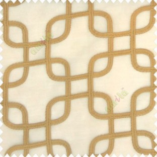 Brown gold color geometric designs abstract square shaped dice scales embroidery soft thread work poly fabric sheer curtain