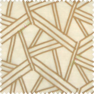 Brown gold color abstract designs slant lines triangle geometric sticks zigzag embroidery soft thread work poly fabric sheer curtain