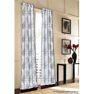 Brown Grey Natural Floral Design Polycotton Main Curtain Designs