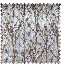 Brown Silver Grey Twigs Forest Design Poly Main Curtain Designs