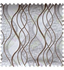 Brown Silver Vertical Flowing Waves Poly Main Curtain Designs