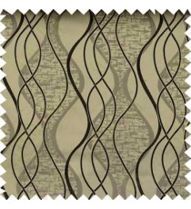 Black Brown Vertical Flowing Waves Poly Main Curtain Designs