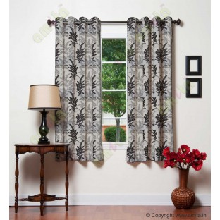 Black Silver Natural Floral Design Polycotton Main Curtain Designs
