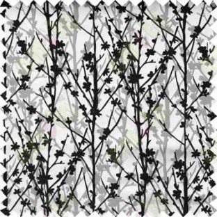 Black Silver Twigs Forest Design Poly Main Curtain Designs