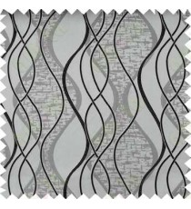 Black Grey Vertical Flowing Waves Poly Main Curtain Designs