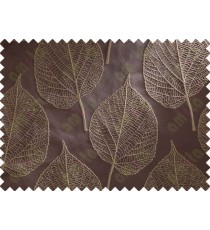 Chocolate Brown Beige Leaf Main Curtain Designs