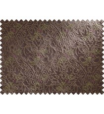 Chocolate Brown Beige Damask Traditional Main Curtain Designs