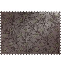 Dark Brown Floral Self Design Main Curtain Designs