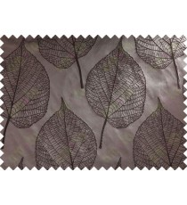 Dark Brown Leaf Self Design Main Curtain Designs