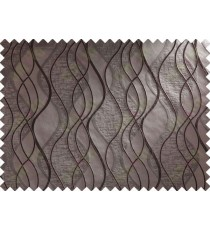Dark Brown Wavesl Self Design Main Curtain Designs