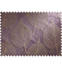 Purple Beige Leaf Main Curtain Designs