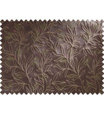 Chocolate Brown Beige Floral Main Curtain Designs